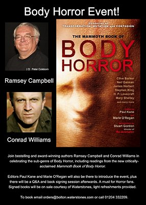 Mammoth Book of Body Horror event, Bolton Library, with Conrad Williams, Ramsey Campbell, Paul Kane and Marie O'Regan