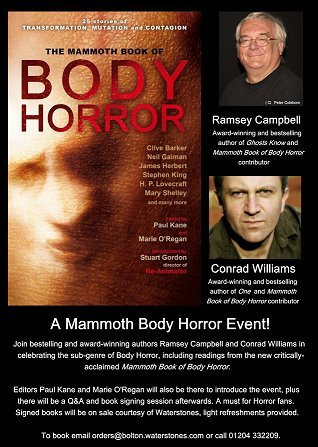 Mammoth Book of Body Horror event, Bolton Library, with Conrad Williams, Ramsey Campbell and Paul Kane