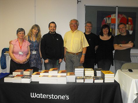 Staff from Bolton Library and Waterstone's, with Ramsey Campbell, Paul Kane, Marie O'Regan and Conrad Williams