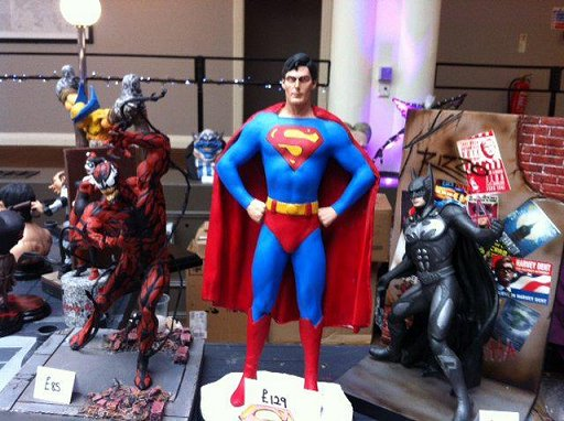Model display: Venom, Superman, Batman