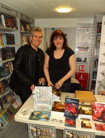 Paul Kane and Marie O'Regan signing copies of Hauntings