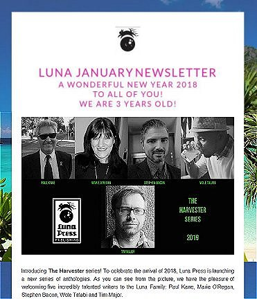 Luna Press announcement for 'Harvester' series - featuring Paul Kane, Marie O'Regan, Stephen Bacon, Wole Talabi and Tim Major