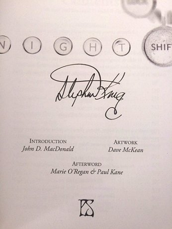 Stephen King signing sheet, Night Shift by Stephen King, PS Publising