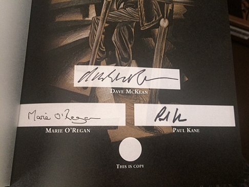 Night Shift by Stephen King, signing sheet - signed by Dave McKean, Marie O'Regan and Paul Kane