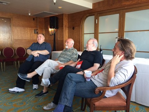 L to R: Pete Atkins, Peter Crowther, Stephen Jones and Michael Marshall Smith