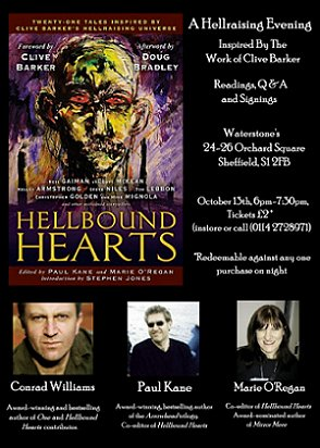 Waterstones Sheffield Hellbound Hearts event: Paul Kane, Marie O'Regan, Conrad Williams